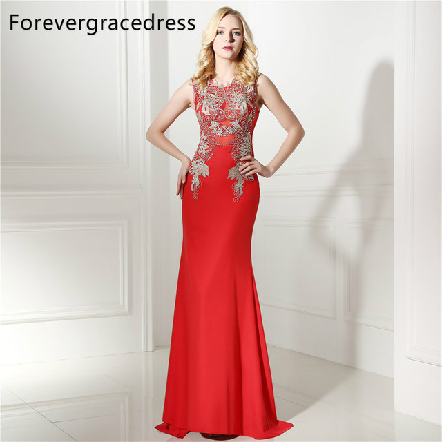 Forevergracedress Real Pictures Red Sheath Prom Dress 2018 Sleeveless  Applique Long Formal Party Gown Plus Size Custom Made b5a4317b1d3a