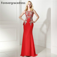 Forevergracedress Real Pictures Red Sheath Prom Dress 2017 Sleeveless Applique Long Formal Party Gown Plus Size Custom Made