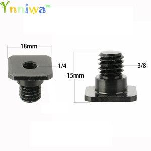"""Image 1 - 10 adet/grup 3/8 inç 1/4 inç siyah/gümüş vida Metal 3/8 """"1/4"""" dönüştürme vida adaptörü için tripod & Monopod ile sıcak ayakkabı"""