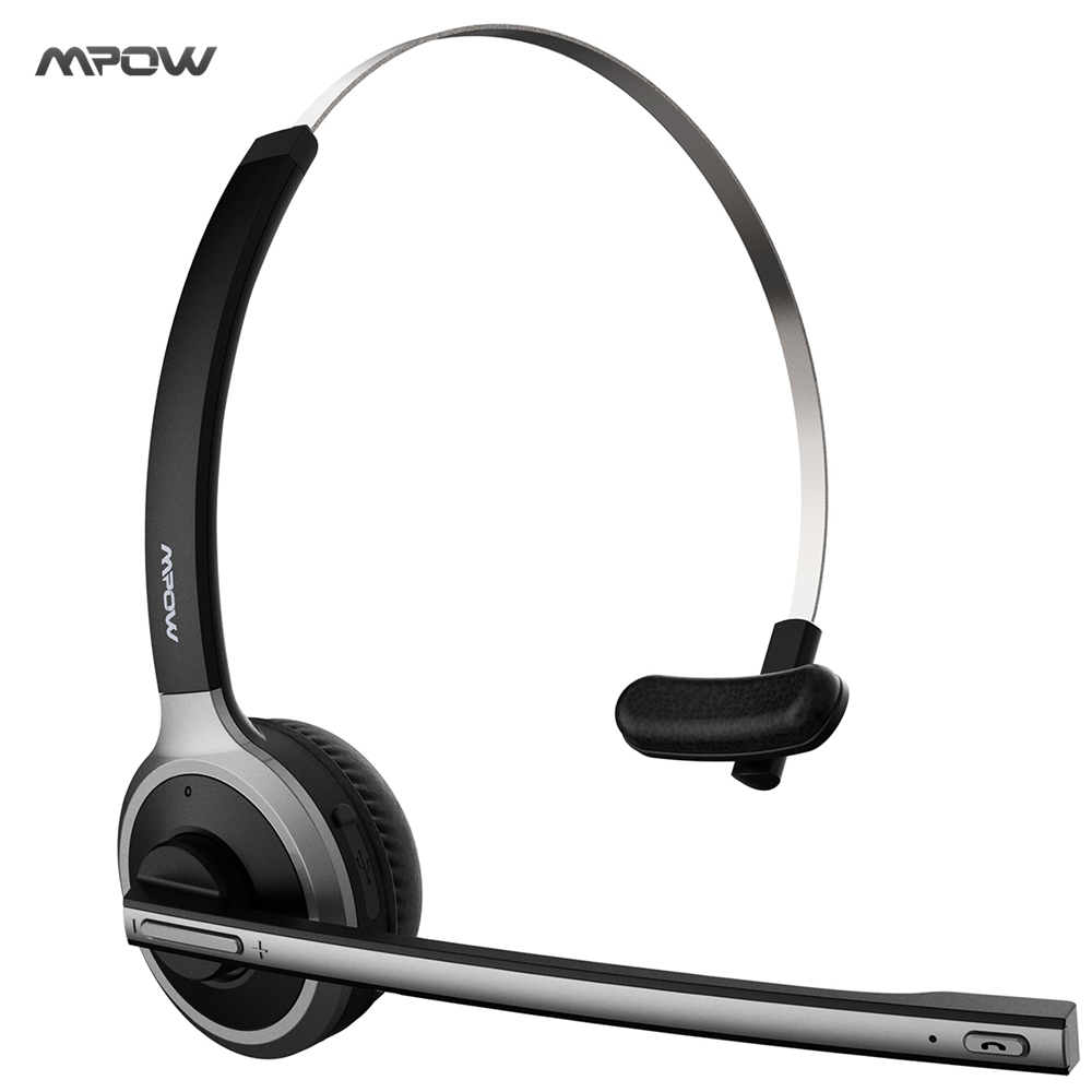 New Mpow Bluetooth 4.1 Headset Wireless Over-Head Noise Canceling Headphones for Truck Car Drivers Call Center Office Earphones