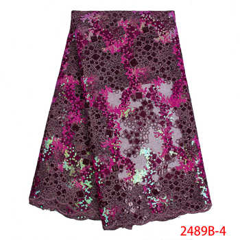 High Quality 2019 Organza Lace Fabric Fabric with Sequins French Mesh Lace Fabrics African Tulle Lace for Party Dress APW2489B-1