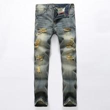 Men Slim Nostalgia Scrape bad Hole jeans