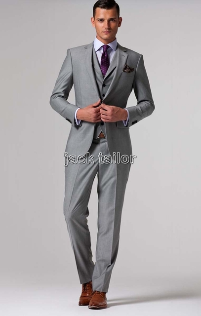 custom made slim fit light grey Suits business suit wedding groom ...