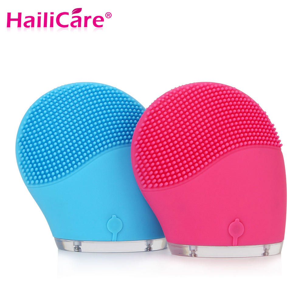Hailicare Electric Face Cleanser Vibrate Pore Clean Silicone Cleansing Brush Massager Facial Vibration Skin Care Spa Massage