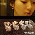 Full Rhinestone water droplet non pierced earrings woman, clip on earrings for party wedding