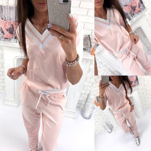 Women Casual Tracksuit Sweatsuit Pullover Top V-neck Pink Pants Long Sleeve Autumn Hoodie Suit 2PCS Pajamas Set