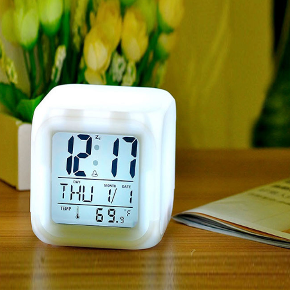 cute 6 colour backlight modern digital alarm clock desk. Black Bedroom Furniture Sets. Home Design Ideas
