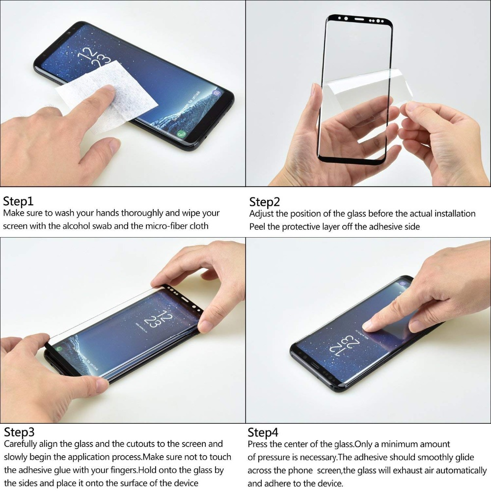 Mobile Phone For Samsung S10 Note 9 8 S8 S9Plus Screen Protector Film Curved For Galaxy S8 S7 S6 Edge S10 Tempered Glass AntiOil in Phone Screen Protectors from Cellphones Telecommunications