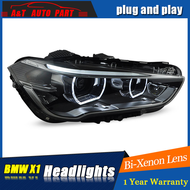 car Styling LED Head Lamp for BMW X1 headlights 2016-2018 for X1 head lamp LED angle eyes drl H7 hid Bi-Xenon Lens low beam auto lighting style led head lamp for porsche cayenne headlights for cayenne led angle eyes drl h7 hid bi xenon lens low beam