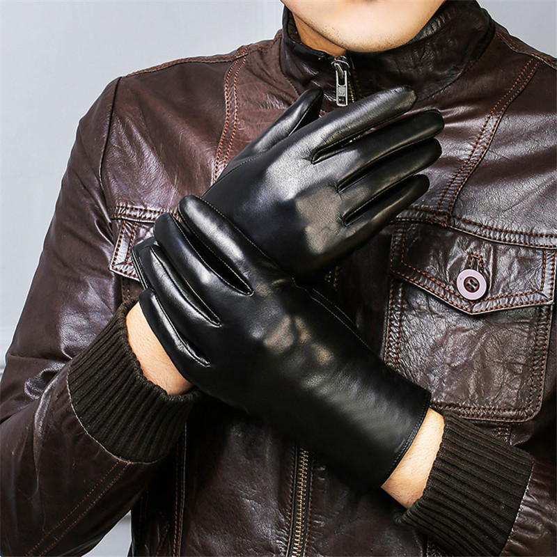 Genuine Leather Gloves Male Fashion Simple Lambskin Gloves Man Black Autumn Winter Plus Velvet Thicken Warm For Driving DQ208 in Men 39 s Gloves from Apparel Accessories