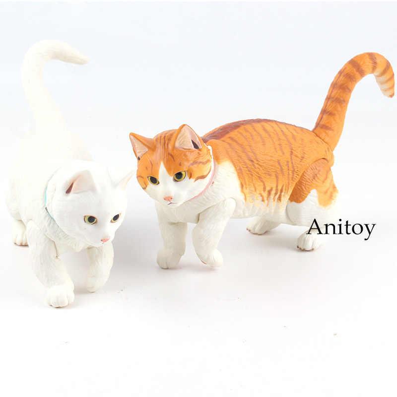 جميلة قصيرة أرجل Munchkin القط الأبيض القط ألعاب حيوانات صغيرة PVC الشكل العمل النادرة نموذج لعب للأطفال