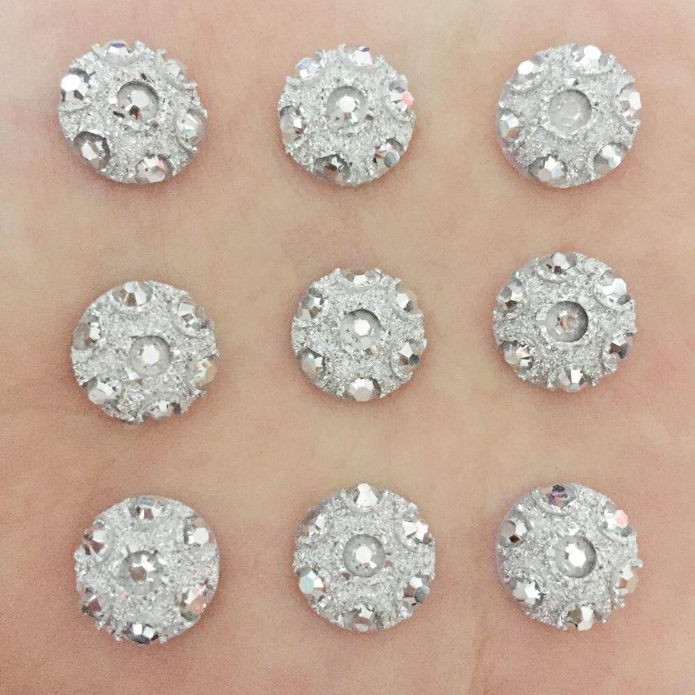 Hot DIY 60pcs Cute 12mm AB Round Resin Stone Flatback Wedding Buttons /silver F074