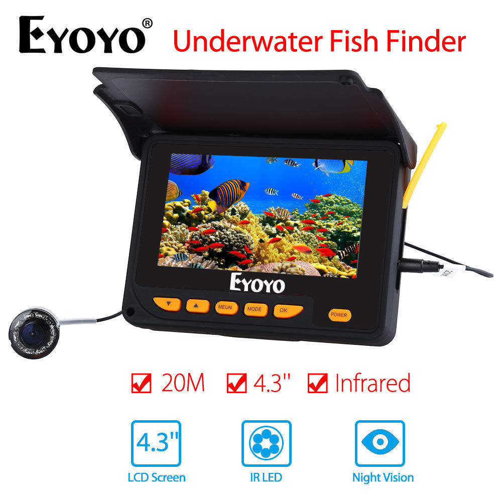 EYOYO 4.3 20M Infrared Underwater Ocean River Lake Sea Boat Ice Fishing Camera Fish Finder Video Fishfinder Fixed on the Rod girl on the boat