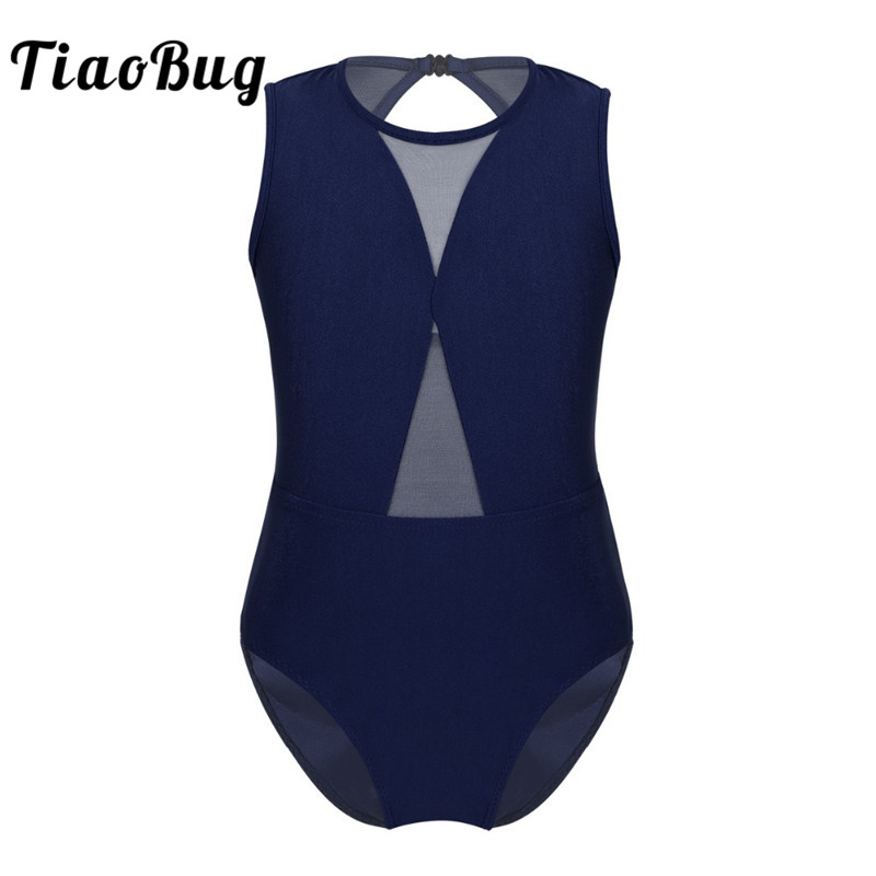 TiaoBug Girl Sleeveless Mesh Hollow Out Ballet Leotards Girls Gymnastics Leotard Kids Dance Wear Ballerina Party Ballet Costumes