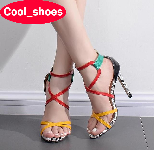 New Candy Color Multi-Color Fashion Sexy Thin Heels Sandals High Quality Cut Outs High Heels Peep Toe Shoes Woman Fetish 626