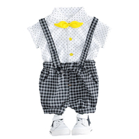 2018 Zomer 2 STKS Baby Boy Kleding Stip Shirt Tops Plaid Jarretel Broek Trainingspak Sets Voor Kids Jongens Baby Kleding Set