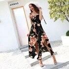 long maxi dresses for women plus size clothing summer dress 2019 off shoulder boho beach dress irregular floral sundress 81586A