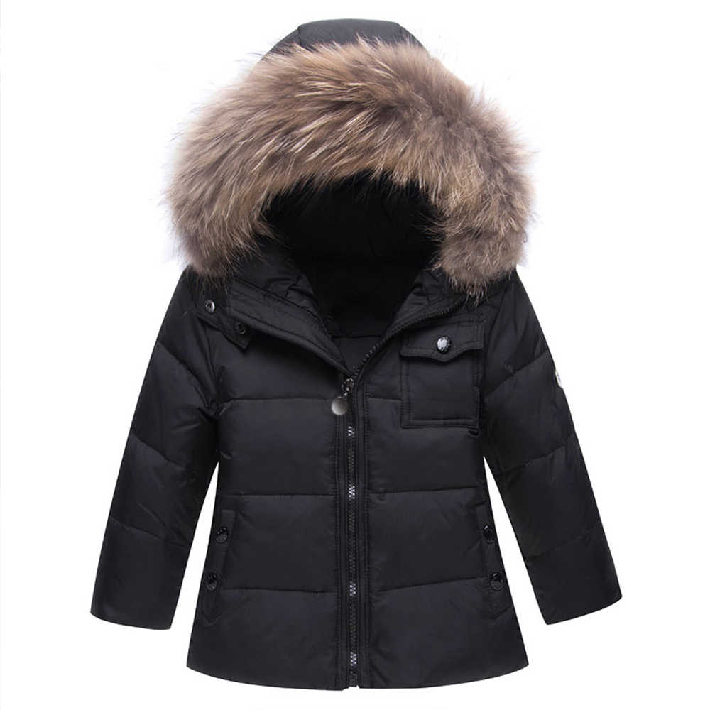 76eac7aac Parka Real Fur Hooded Boy Baby Overalls Girl Winter Down Jacket Warm Kids  Coat Children Snowsuit Snow Clothes Girls Clothing Set