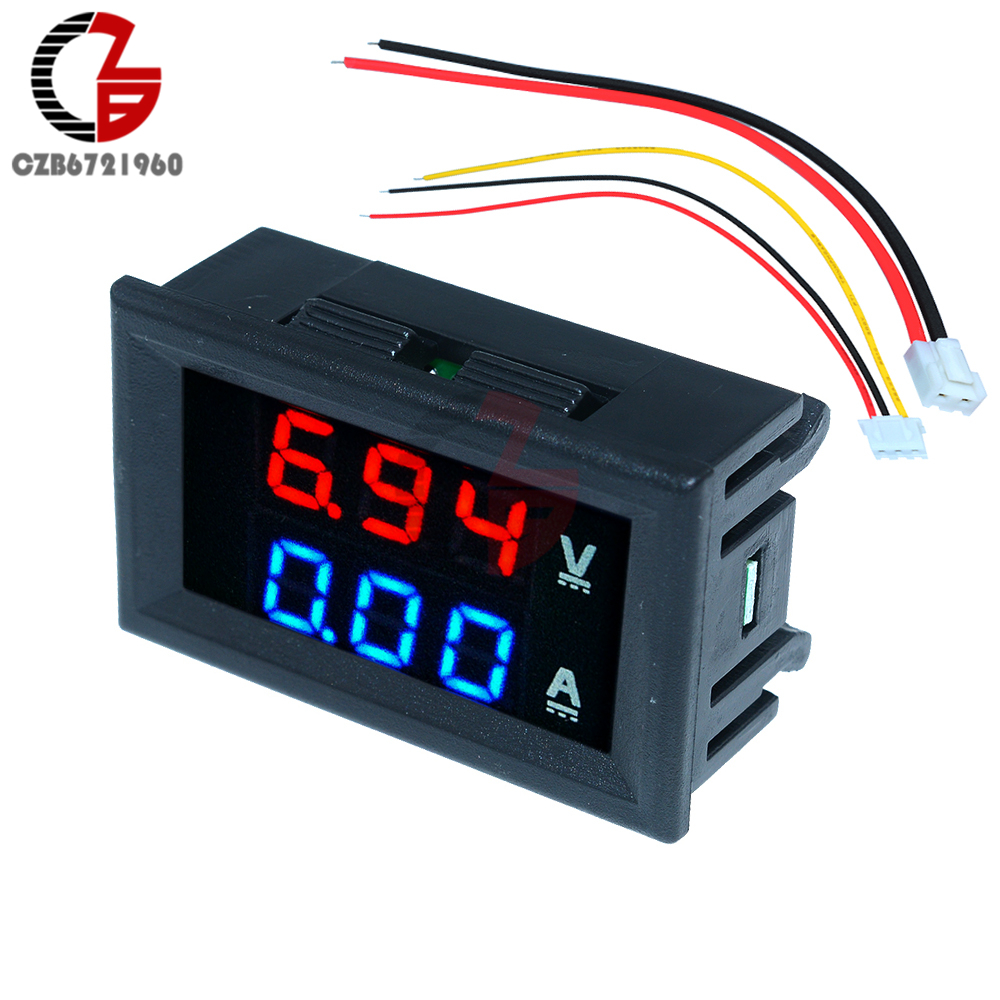 0.56 inch Mini LED Digital Voltmeter Ammeter DC 100V 10A Current Voltage Meter Detector Tester Monitor 0.56 Dual Display Panel dc 0 100v 10a digital voltmeter ammeter led dual display voltage current indicator monitor detector dc amp volt meter