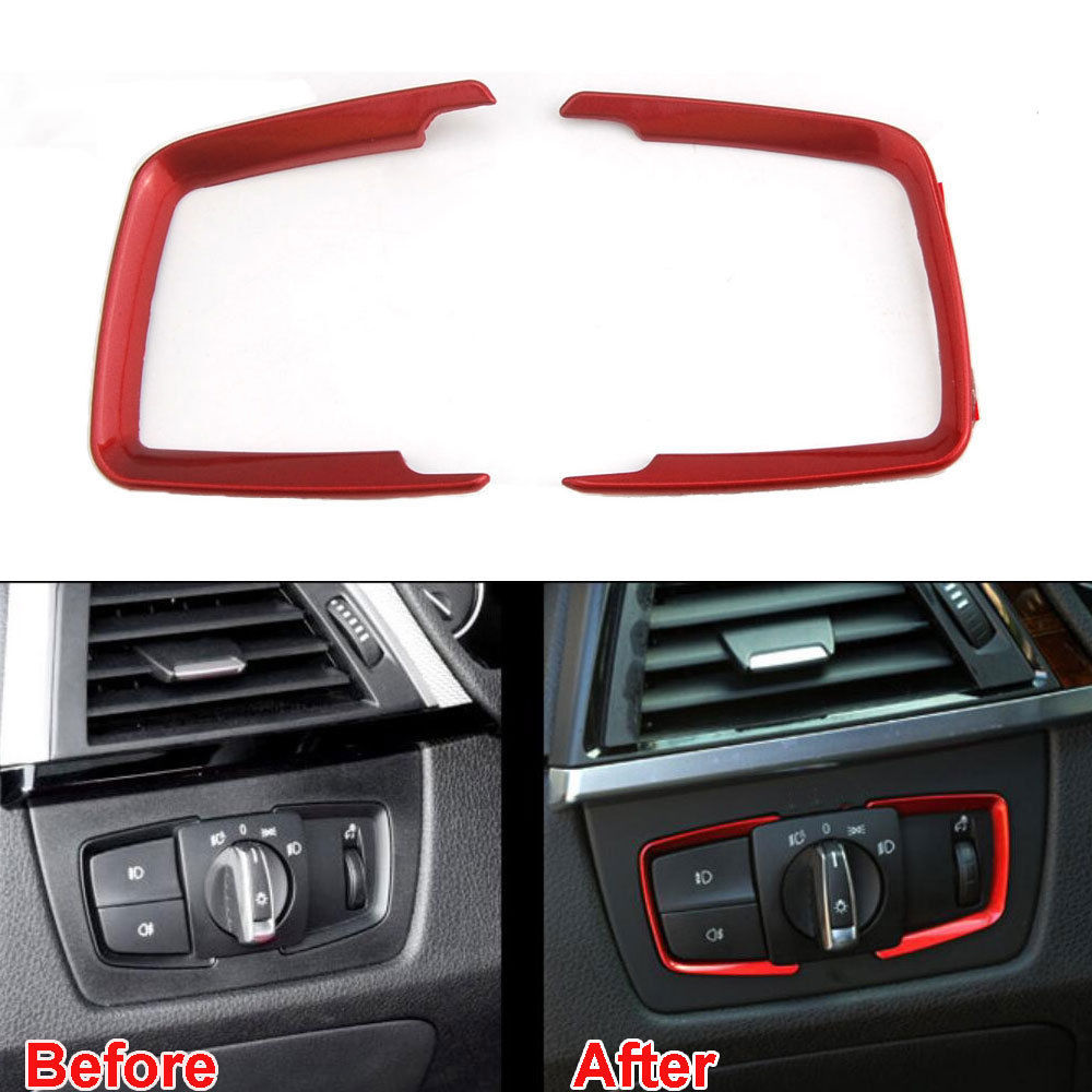 BBQ@FUKA For BMW 3 Series F30 316i 320i 328i 2013-2015 2x ABS Car Headlight Head Light Switch Button Frame Cover Trim Red 2x red red lens rear bumper reflector warning light for bmw f30 f35 328i 320i 335i auto car styling 3099