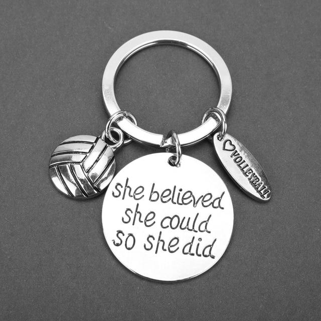 Venta caliente ella creía que podía por que lo llavero voleibol llavero de aleación de cadenas de joyería de las mujeres