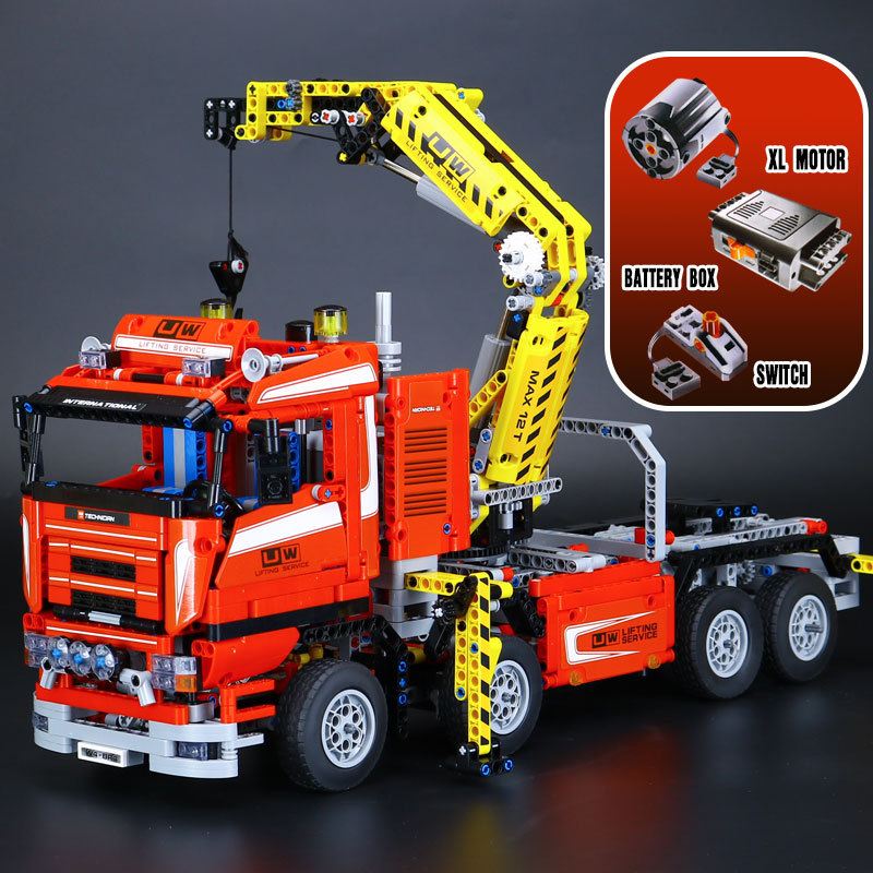 Lepin 20013 Technic 1877pcs The Electric Crane Truck Car Model Building Blocks Bricks Compatible 8258 Toy Children's Day Gifts