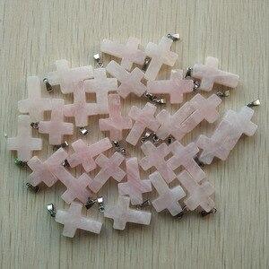 Image 5 - Bán buôn 50 cái/lốc thời trang hot bán tự nhiên đá hỗn hợp màu liệt kê vào chéo mặt dây Quyến Rũ phù hợp với Dây Chuyền đồ trang sức làm