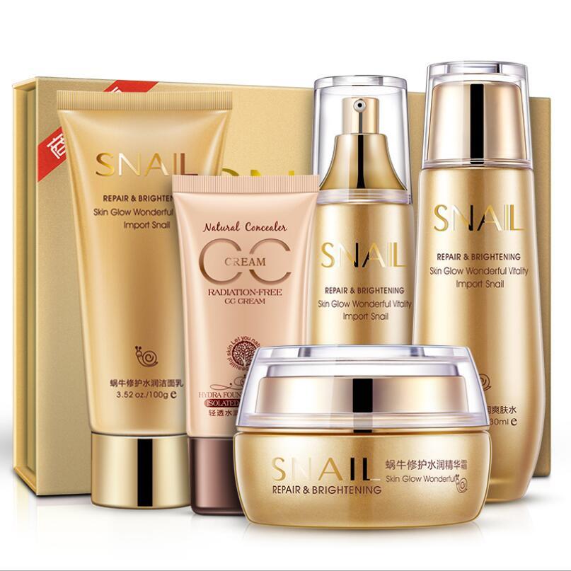 BIOAQUA Set de soin de la peau d'escargot crème sérum visage + Toner + nettoyant + CC crème + Essence émulsion kit de soin du visage