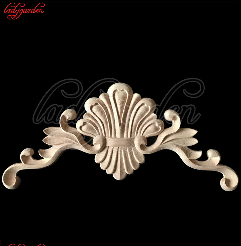 Wood Appliques for Furniture Wood Door Decals Furniture Decorative Applique Flower Long Corner Mini Crossbow Home Decoration