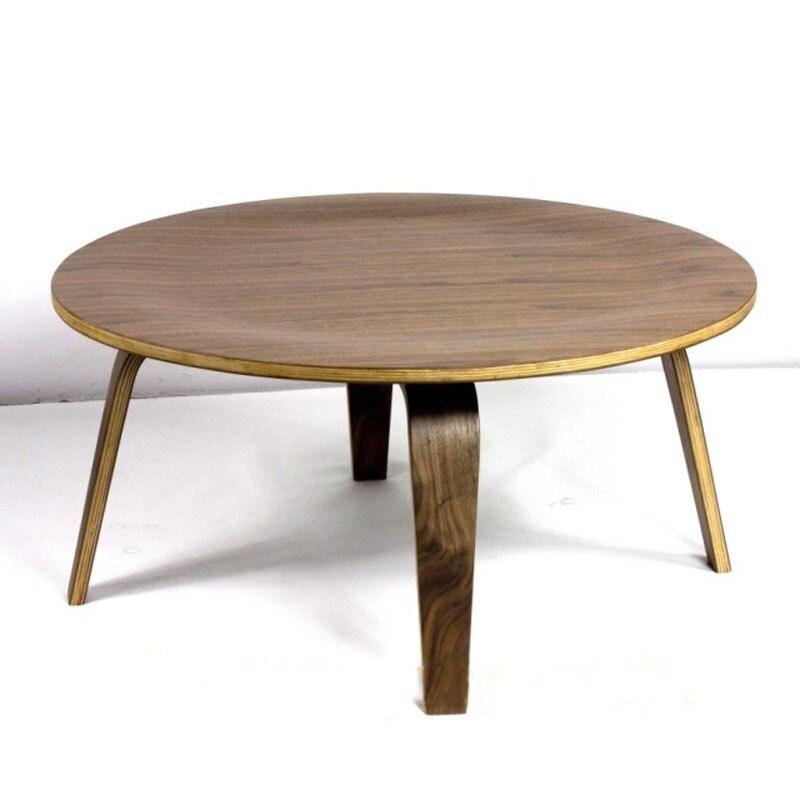 Mesa redonda de contrachapado Mesa de centro de madera de nogal DIA86 - Mueble - foto 3
