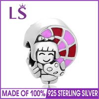 LS Authentic 100 925 Sterling Silver Family Enamel Charm Beads Fit Bracelets Bangles Women DIY Jewelry