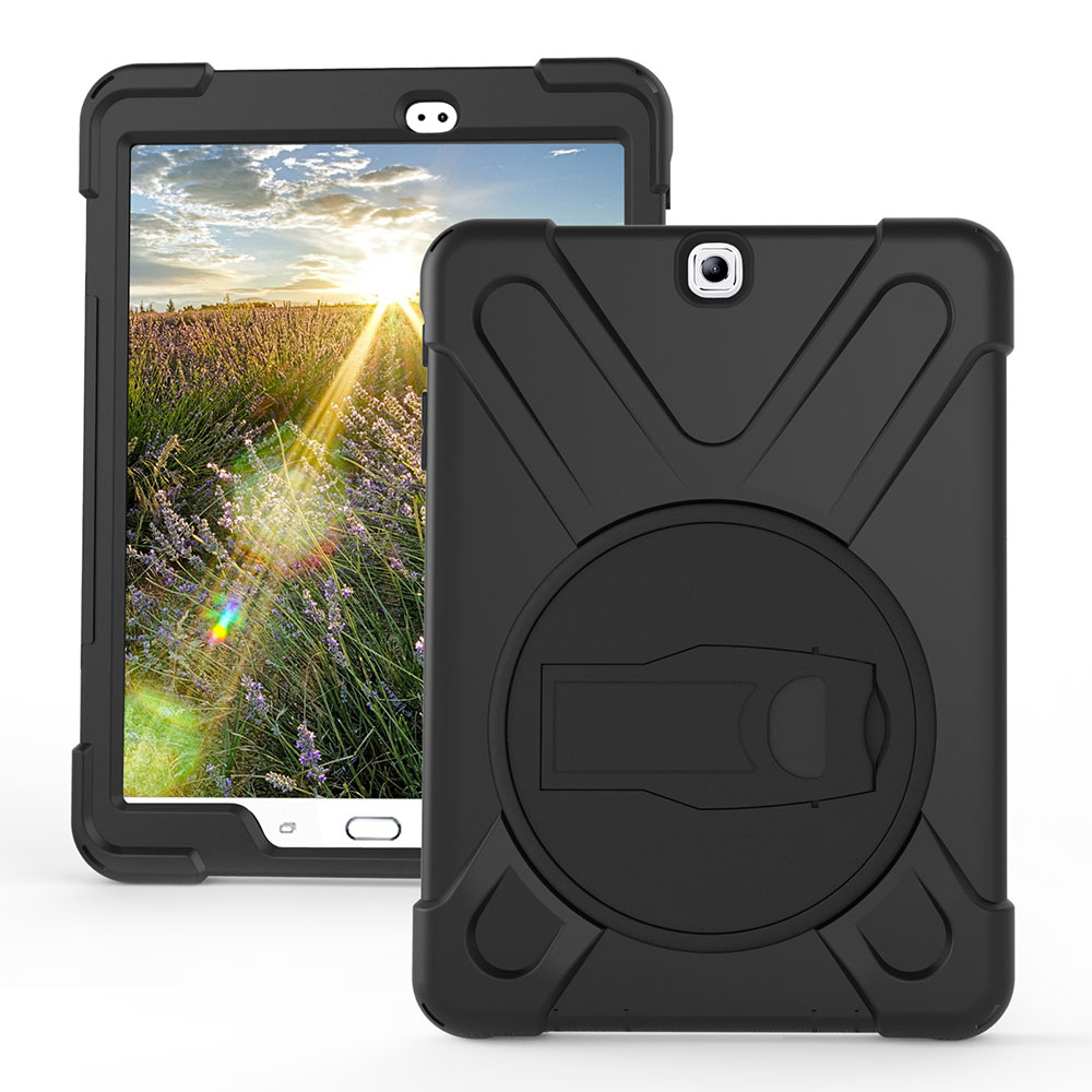 For Samsung Galaxy Tab S2 9.7 SM-T810 T815 Pirate Tablet Case Cover Silicone+PC Kickstand Hard Case With Wrist + Shoulder Strap