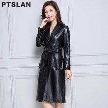 2017 women genuine lambskin coat full pelt slim fit coat real leather long coat