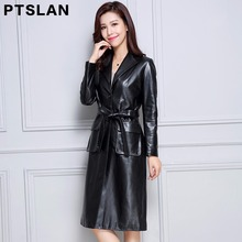 2017 women genuine lambskin coat full pelt slim fit coat real leather long coat