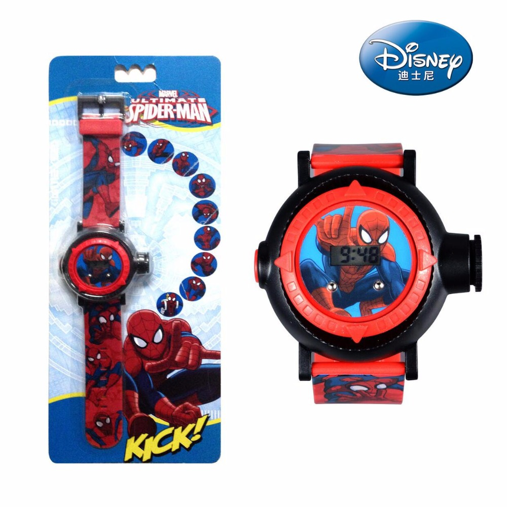 Disney Original Marvel Children's Electronic Watch Handsome Spider-Man Projection Watch Boys Gift