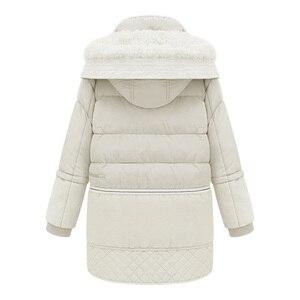Image 2 - Mulheres midi longo para baixo casaco tamanho grande para baixo jaqueta senhora pato branco para baixo jaqueta com capuz casacos feminino grosso inverno jaqueta outerwear 462