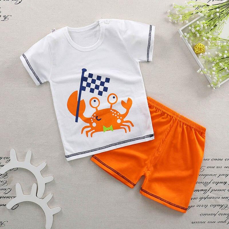 От 1 до 4 лет хлопок детские пижамы комплект короткий рукав Pijama мультфильм Infantil Дети пижамы для мальчиков и девочек Летняя домашняя одежда дл...