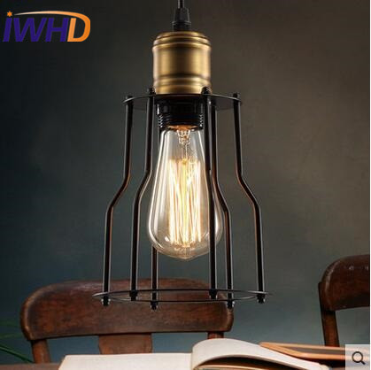 Single head Antique Industrial Hanging Lamp Loft Edison Blub Pendant Lights Fixture Creative Iron Vintage Hanging Light Lamparas new loft vintage iron pendant light industrial lighting glass guard design bar cafe restaurant cage pendant lamp hanging lights
