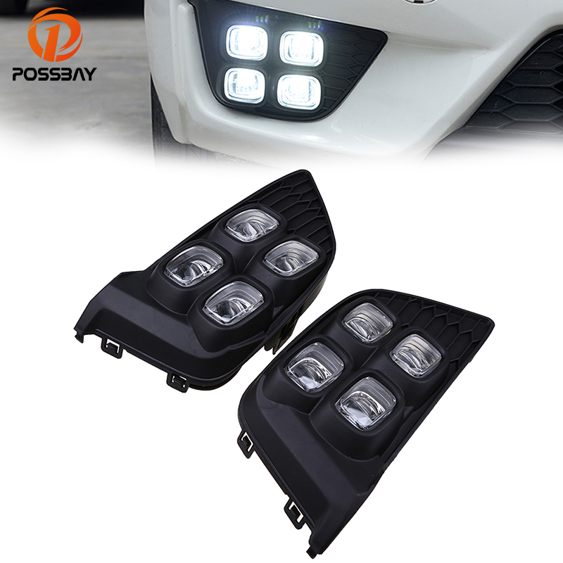 POSSBAY Car DRL LED Daytime Running Lights for Honda Fit/Jazz MK3 (GK5) 2014 2015 2016 2017 Pre-facelift White Fog Light Lamps eemrke car led drl for honda odyssey jdm 2014 2015 2016 high power xenon white fog cover daytime running lights kits