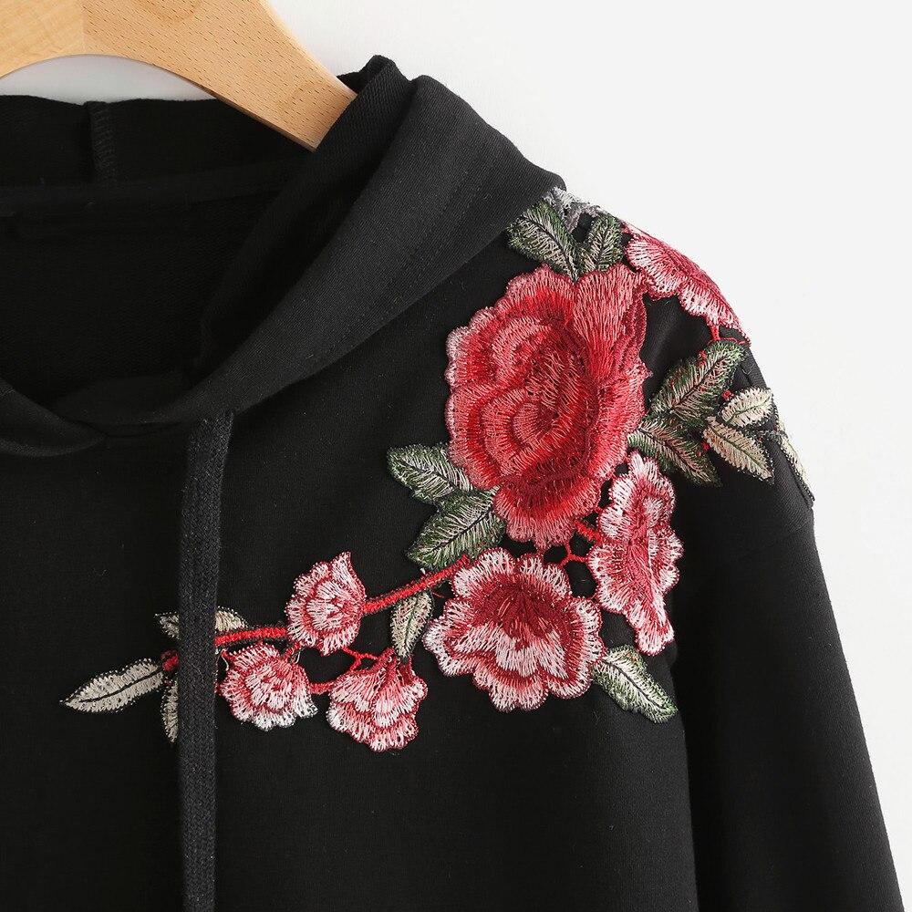 HTB1DJkYSFXXXXaOXpXXq6xXFXXXg - Women Hoodie Crop Sweatshirt Jumper Crop Top Embroidery Pullover Black Cotton PTC 285