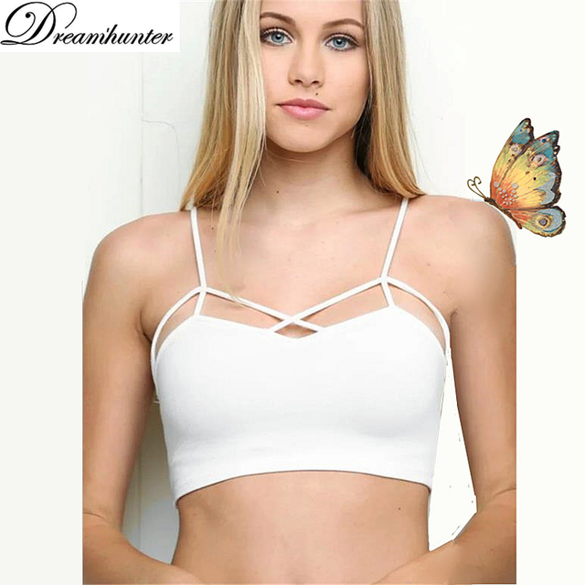 babcee7a54529 Sexy Spaghetti Tops Women Bra Summer Bralette Cropped Shirt Padded  Underwear Sutia Basic Tank Top Sutyen BH Strap Camis Bralet