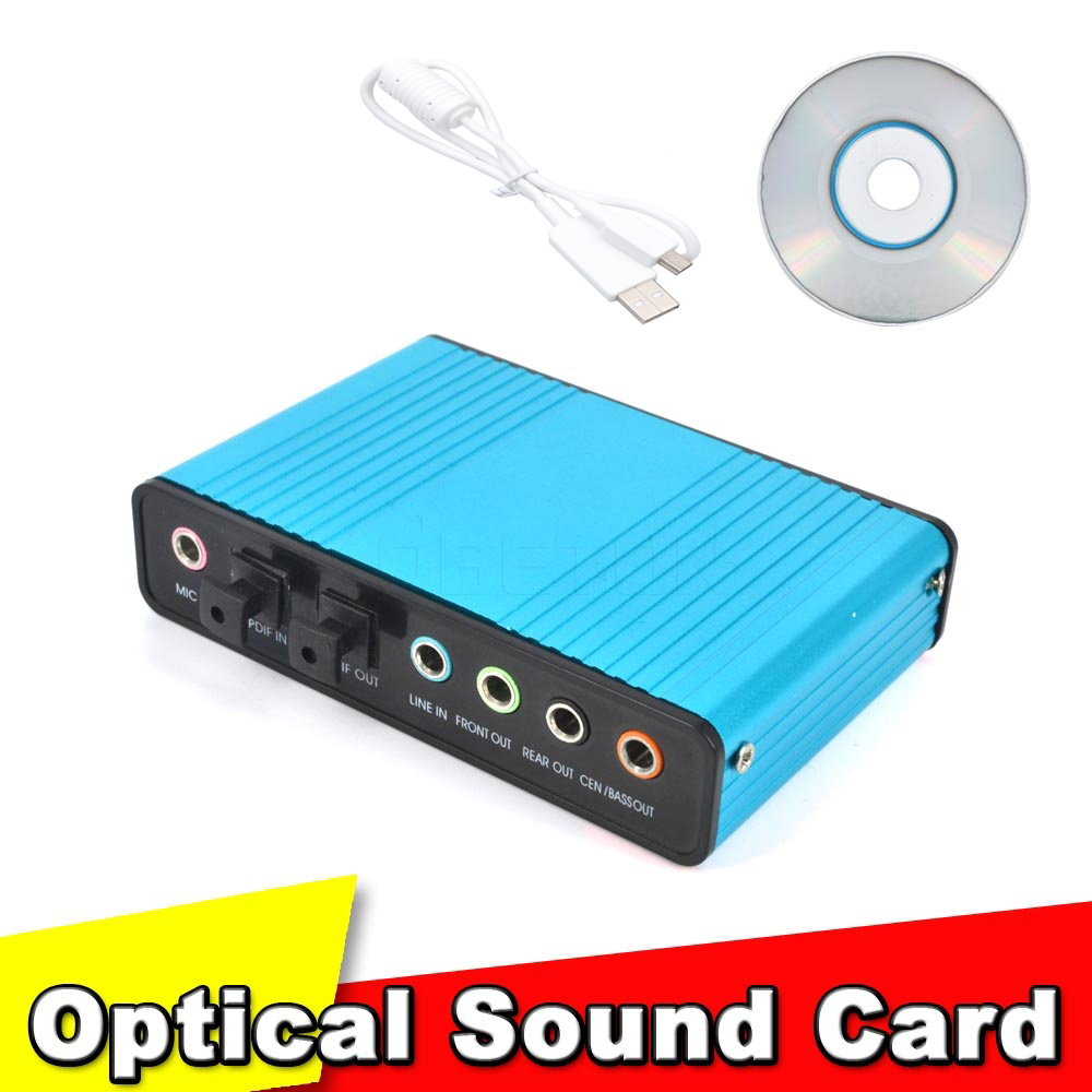 USB 2.0 Sound Card Audio Card CM6206 Chipset Channel 5.1 Sound Card SPDIF Controller Audio for PC Laptop Computer Tablet