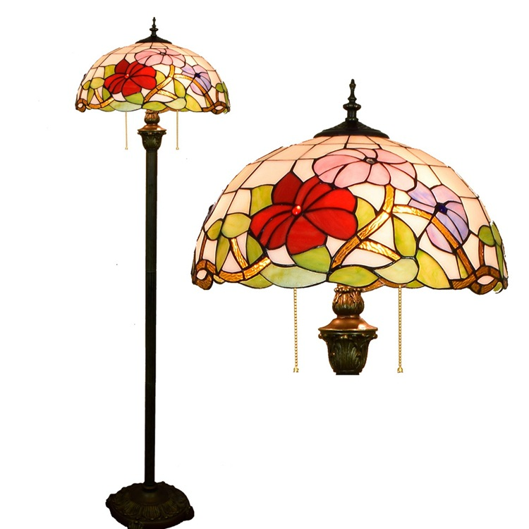 16 дюймов Тиффани Красная роза цветок Витражи стеклянная Напольная Лампа E27 110 240 V для дома гостиной обеденный номер