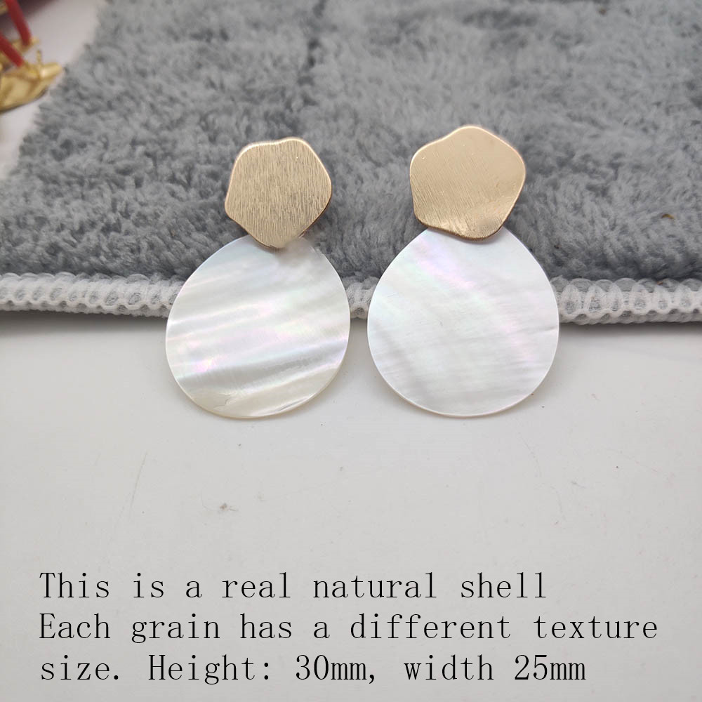 Fashion Wedding Jewelry Hanging Natural Shell Pearl Geometric Earrings High Quality Natural Shell Pendant Earrings for women P40 26