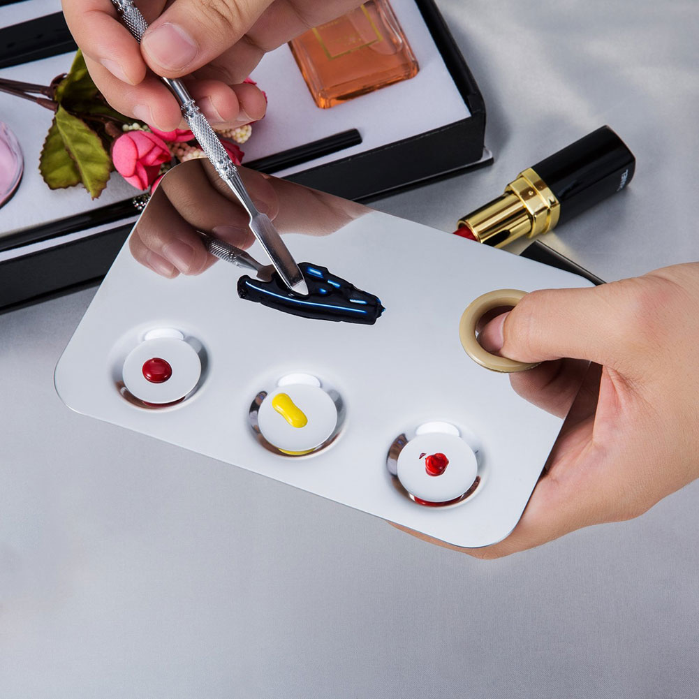Stainless Steel Makeup Palette 3-Well Nail-art Palette Cosmetic Mixing Palette With Spatula Tool MH88