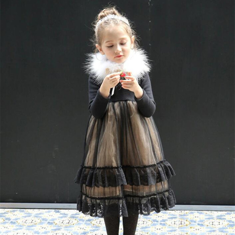 2016 Winter Thicken Children Clothing Princess Kids Girls Dress Noble For Wedding Party With Fur Collar, Black/ Pink