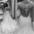 Free Shipping High Quality Cap Sleeves Lace Luxury Sheer Back Crystal Beads Mermaid Wedding Dress