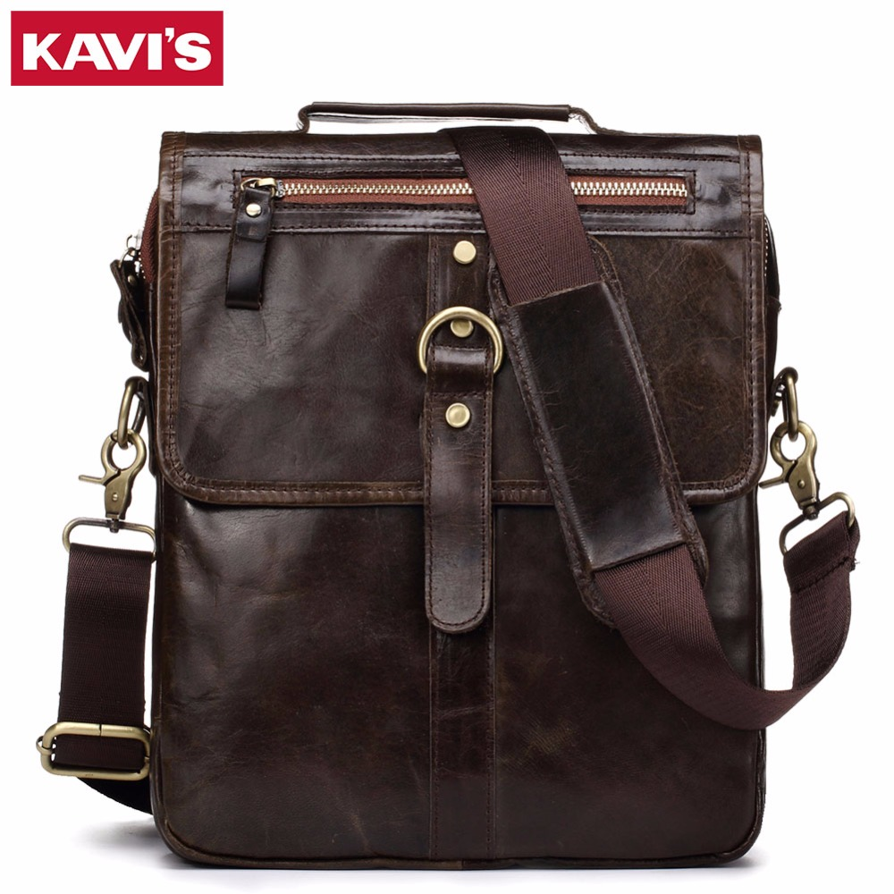 KAVIS 100% Cowhide Genuine Leather Shoulder Bag Original Men Messenger Crossbody Handbag Sling Chest For Male Small Zipper Soft genuine leather bag cowhide shoulder men