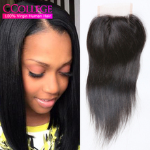 Cheap 7A Brazilian Straight Lace Closure Mink Brazilian Virgin Hair Straight 4×4 Swiss Lace Closure Alimoda Hair Company 8″-20″