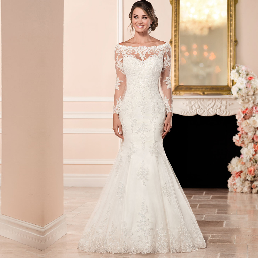 2019 Long Sleeve Wedding Gown Illusion Back Boat Neck Court Train Lace Applique vestido de casamento